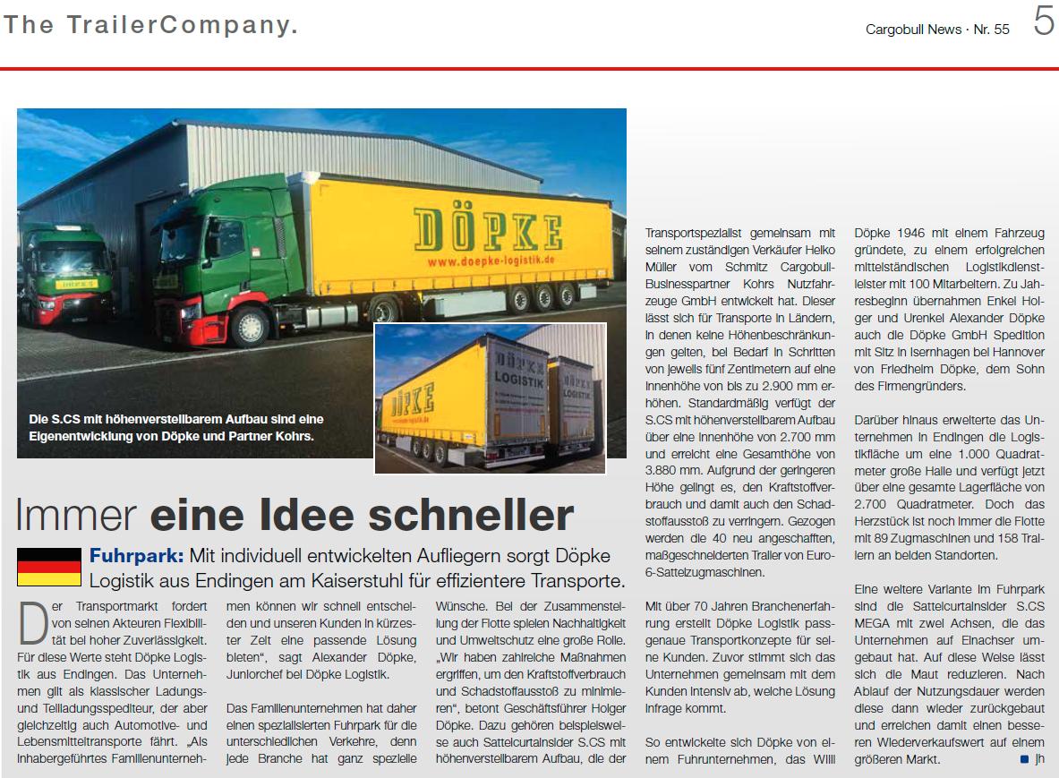 Schmitz Cargo Bull News berichtet über die Innovationskraft der Döpke Logistik