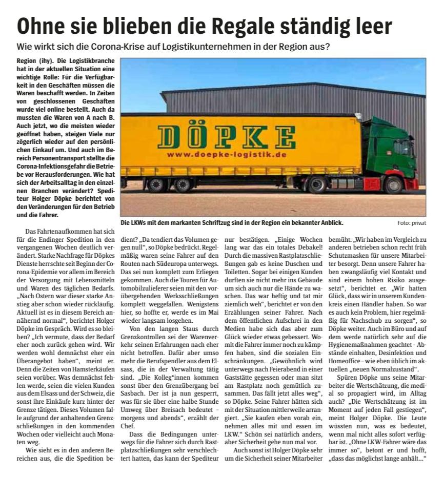 """Bericht Im Emmendinger Tor Vom 13.05.2020: """"Ohne Sie Bleiben Die Regale Ständig Leer."""""""